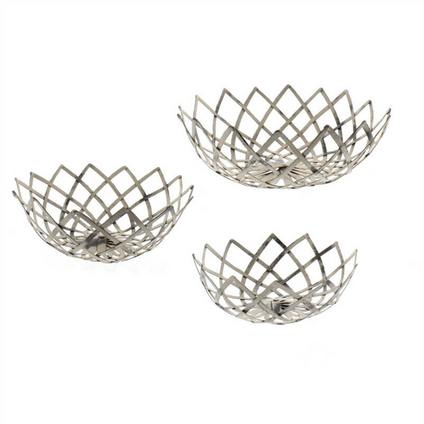 Antique White Woven Metal Bowls - Sugarboo and Co