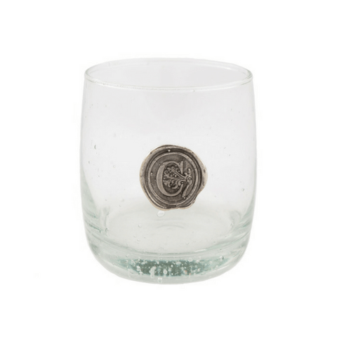 Pewter Initial Double Old Fashion Glasses - Set of 4 - Sugarboo and Co