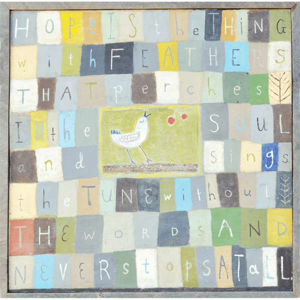 Hope is the thing with feathers - Art Print - Sugarboo and Co - Grey Wood Frame
