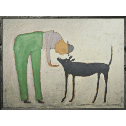 Man with Dog - Sugarboo and Co Art Print - Grey Wood Frame
