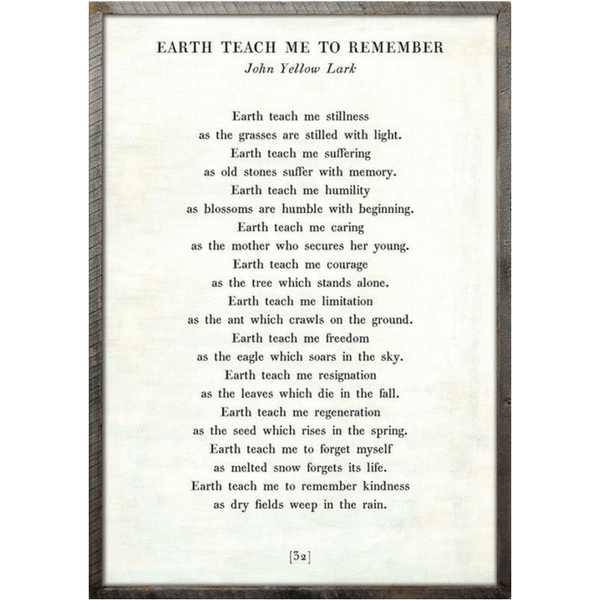 Earth Teach me to Remember Poetry Collection - Sugarboo and Co - White - Grey Wood Frame