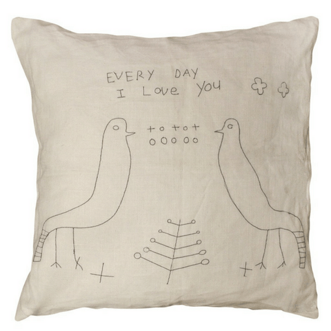 Two Birds Stitched Pillow - Sugarboo and Co