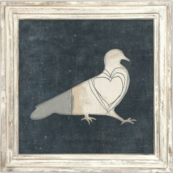 Bird with Big Heart - Sugarboo and Co Art Print - White Wash Frame
