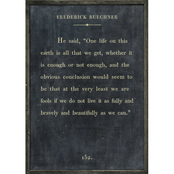 Frederick Buechner - Book Collection - Sugarboo Designs - Charcoal - Grey Wood Frame