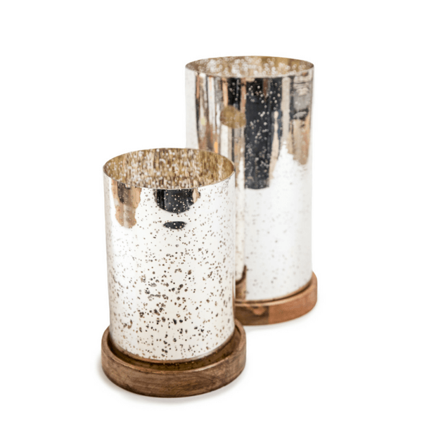 Silver Pillar Candle Holder (Two Sizes) - Sugarboo and Co