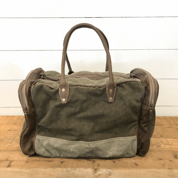 Army Green Canvas and Leather Duffle Bag - Sugarboo and Co