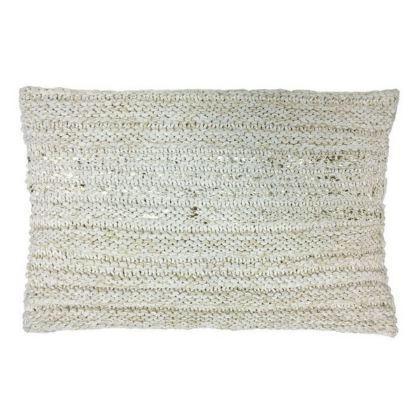 Rectangle Gold and Beige Knit Pillow - Sugarboo and Co