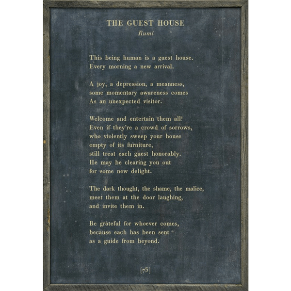 The Guest House - Rumi - Sugarboo and Co Poetry Collection - Charcoal - Grey Wood Frame