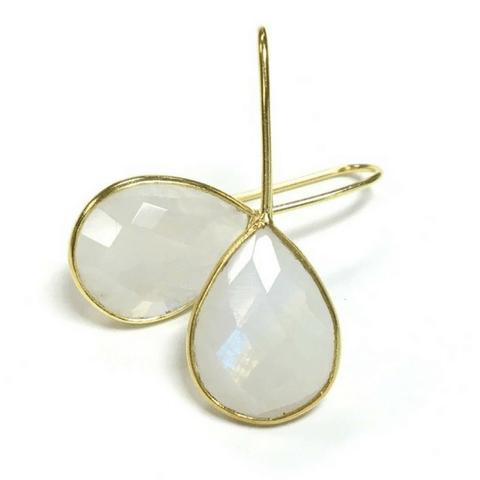 Moonstone and Gold Drop Earrings - Sugarboo and Co