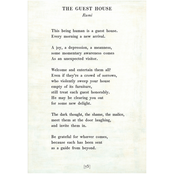 The Guest House - Rumi - Sugarboo and Co Poetry Collection - White - Gallery Wrap