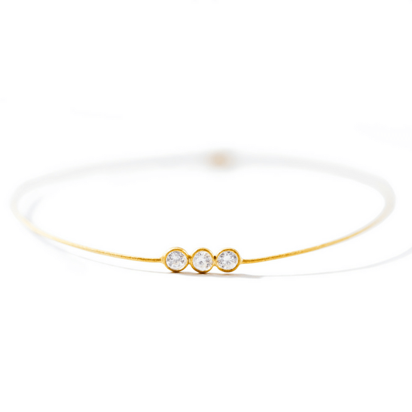 22k Gold Plated Sterling Silver Bangle with Crystal Trio - Sugarboo and Co