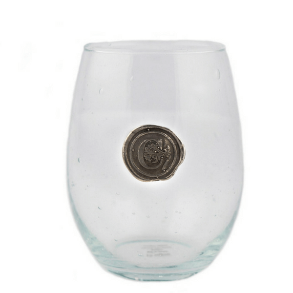 Southern Jubilee Stemless Wine Glasses - pewter initial - Sugarboo and Co