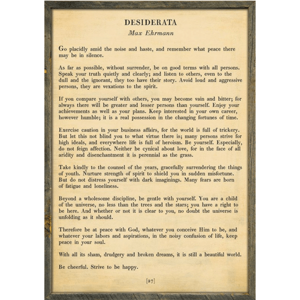 Desiderata - Poetry Collection - Sugarboo and Co - Cream - Grey Wood Frame