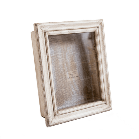 Glass Shadow Box with White Wash Frame - Newspaper Background - Sugarboo and Co