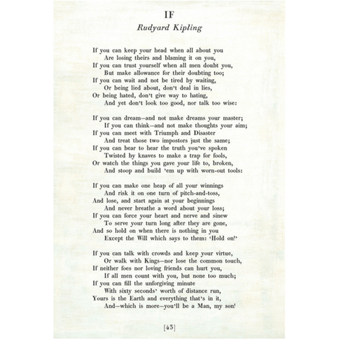 Poetry Collection - If - Rudyard Kipling - White - Gallery Wrap