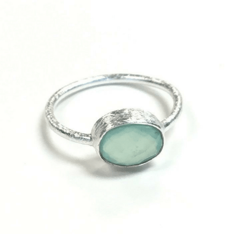 Oval Aqua Chalcedony Ring - Sugarboo and Co