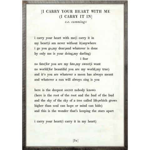 I carry your heart - Poetry Collection - Sugarboo and Co - White