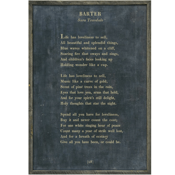 Sara Teasdale - Barter - Sugarboo and Co Poetry Collection - Charcoal - Grey Wood Frame