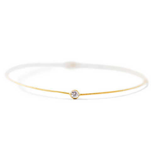 22k Gold Plated Sterling Silver Bangle with Small Crystal - Sugarboo and Co