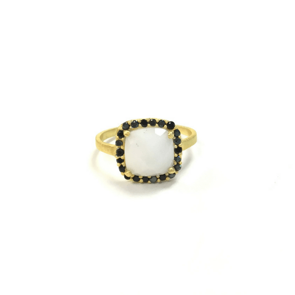 White Agate and Black Zircon Ring - Sugarboo and Co