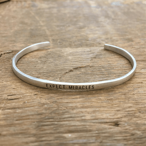 Sterling Silver Cuff - Expect Miracles - Sugarboo and Co
