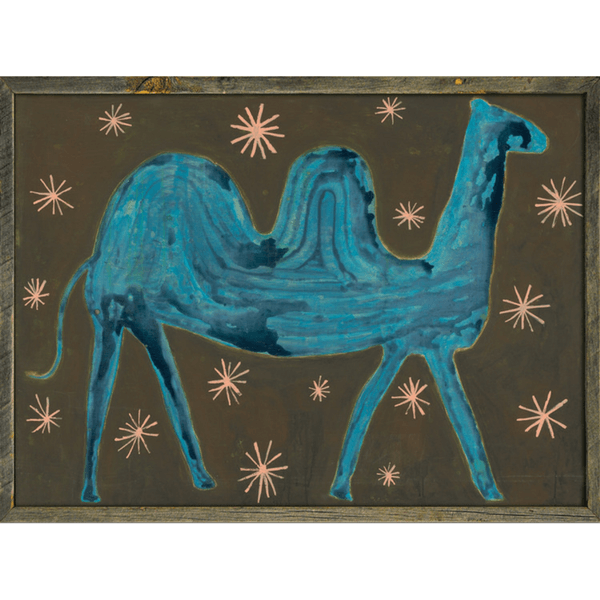 Camel in the Stars - Sugarboo and Co Art Print - Grey Wood Frame
