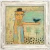 Man with Bird - Art Print - Sugarboo and Co - White Wash Frame