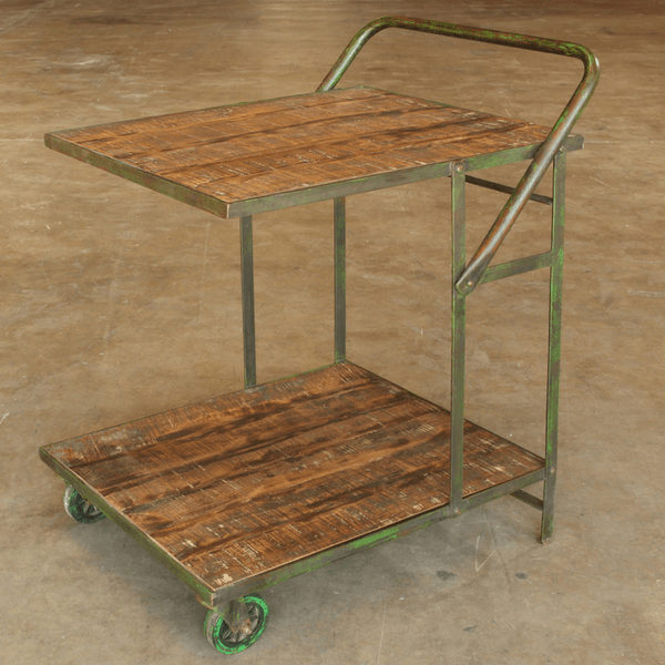 Distressed Wood Bar Cart - Sugarboo & Co