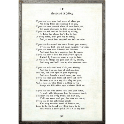 Poetry Collection - If - Rudyard Kipling - White