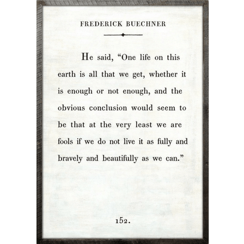 Frederick Buechner - Book Collection - Sugarboo Designs - White - Grey Wood Frame
