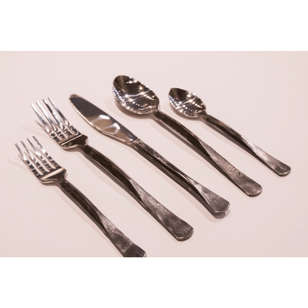 Iron & Silver Flatware - Set of 5 - Sugarboo and Co