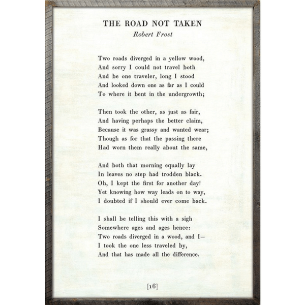 The Road Not Taken - Robert Frost - Sugarboo and Co Poetry Collection - White - Grey Wood Frame