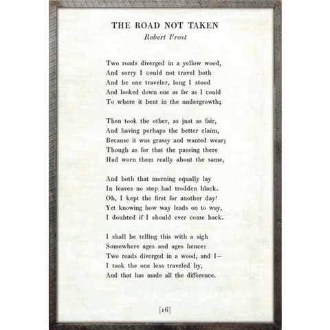 The Road Not Taken - Robert Frost - Sugarboo and Co Poetry Collection - White