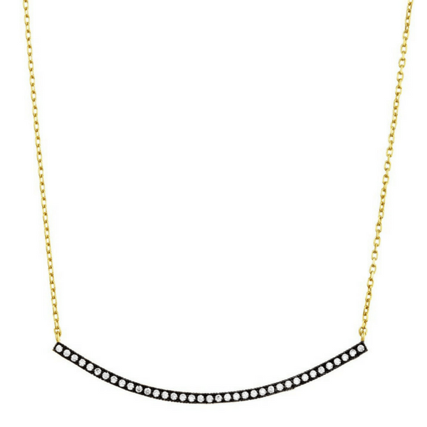 Gold Pave Crescent Necklace - Avindy - Sugarboo and Co