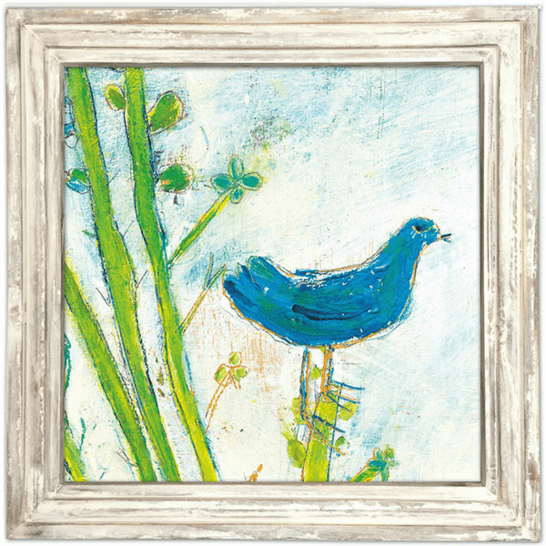 Blue Bird Right - Sugarboo and Co Art Print - White Wash Frame