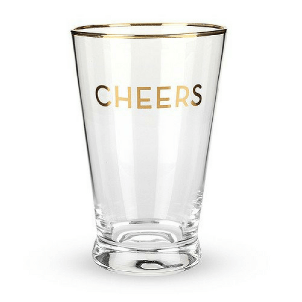 Gold Rimmed Cheers Pint Glass Set - True Brands - Sugarboo and Co