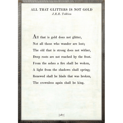All that Glitters - J.R.R. Tolkien Book Collection Print - Sugarboo and Co - White - Grey Wood Frame
