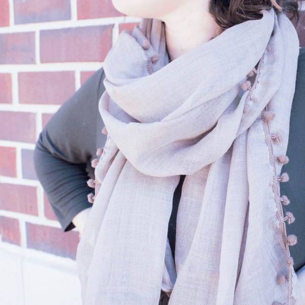 Latte Scarf with Pom Poms - Sugarboo and Co