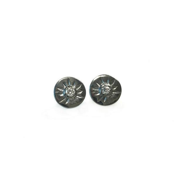 Black Rhodium Plated Sterling Silver Stud Earrings - Sugarboo and Co