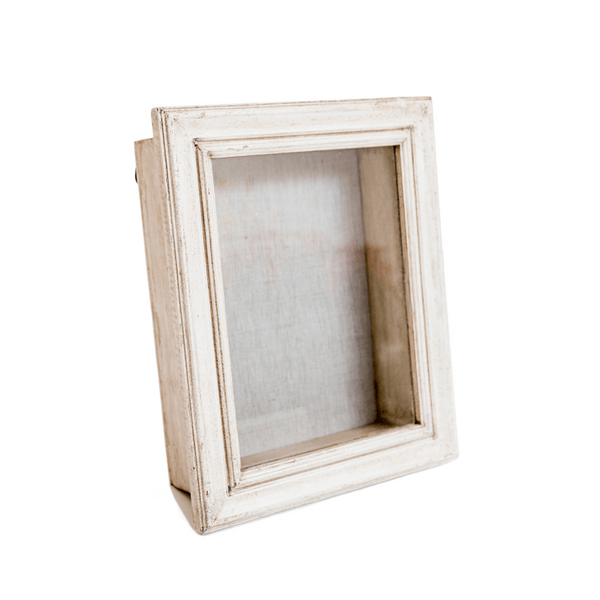 Glass Shadow Box with White Wash Frame - Taupe Background - Sugarboo and Co
