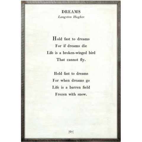 Dreams Poetry Collection - Sugarboo and Co - White - Grey Wood Frame