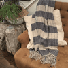 Striped Linen Throw - Navy- Sugarboo and Co