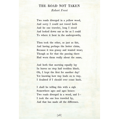 The Road Not Taken - Robert Frost - Sugarboo and Co Poetry Collection - White - Gallery Wrap