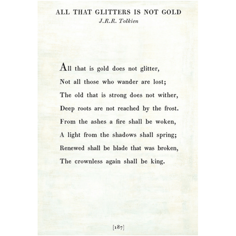 All that Glitters - J.R.R. Tolkien Book Collection Print - Sugarboo and Co - White - Gallery Wrap
