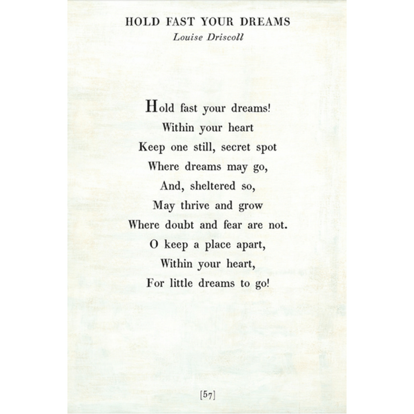 Hold Fast Your Dreams - Poetry Collection - Sugarboo and Co - White - Gallery Wrap