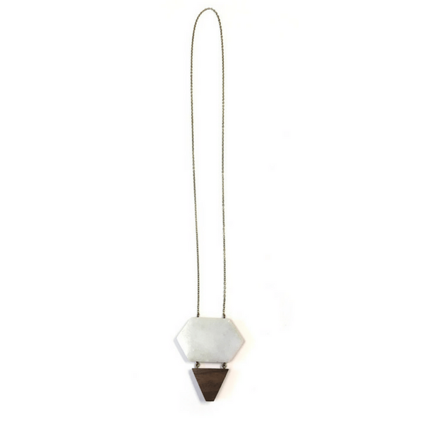 Marble and Wood Tiered Pendant Necklace - Sugarboo and Co
