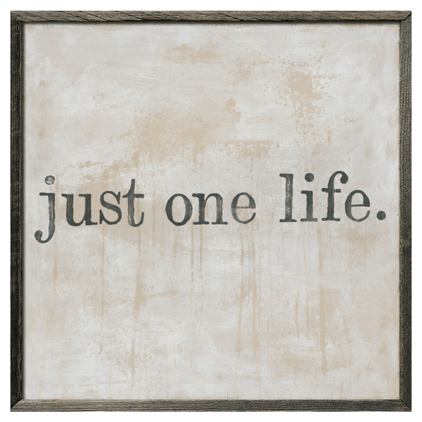 Just One Life - Grey Wood Frame - Sugarboo and Co
