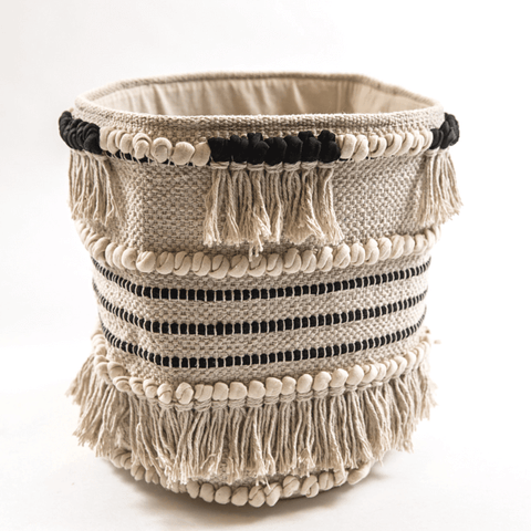 Black and Cream Fringe Fabric Basket - Sugarboo and Co