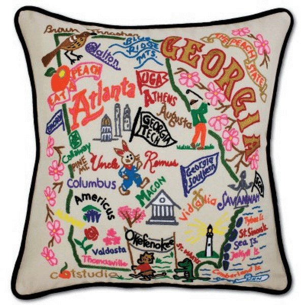 Hand-Embroidered Pillow - Georgia - Sugarboo and Co