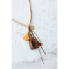 Sequin Necklace with Tassels - Peach Mix - Sugarboo and Co